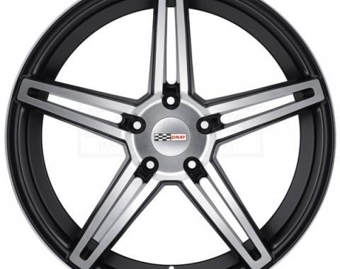 Corvette Wheel, Cray Brickyard, 19x11, Rear Only, Machined Matte Black, 2014-2017