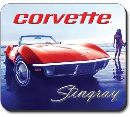 Corvette Mouse Pad, 1970's Vette On The Beach