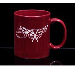 Corvette 11 Ounce Coffee Mug, C-Handle, Burgundy, 1953-2013
