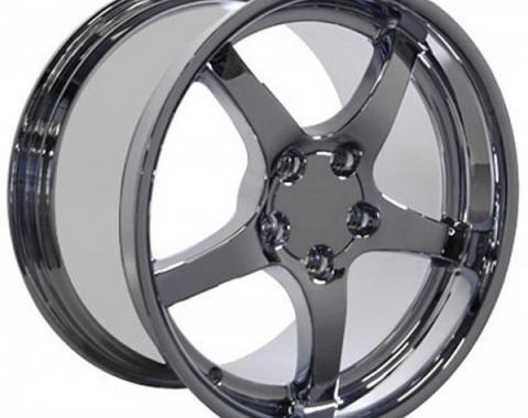 Corvette 18 X 10.5 C5 Style Deep Dish Reproduction Wheel, Chrome, 1988-2004