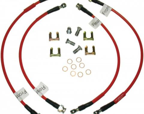 Corvette Brake Hose Set, Braided Stainless Steel, Red, 2005-2013