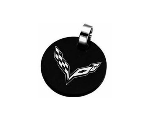 "Corvette C7 Emblem 1"" Round Black Pendant"