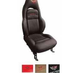 Corvette Seat Covers, Standard, 100% Leather, Embroidered,Two-Tone, 1997-2004