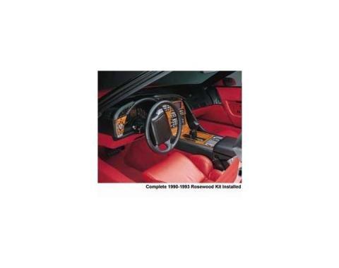 Corvette Rosewood Dash & Trim Set, With 6-Speed Transmission, 1992-1993