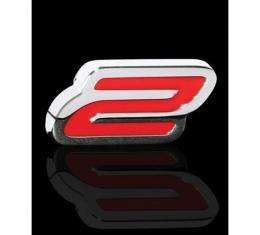 "Corvette Badge, ""2"", Billet Chrome And Yellow, Single Emblem"