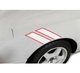 Corvette Fender Accent Stripes, White With Red Trim And 35th Anniversary Emblem, 1984-1996