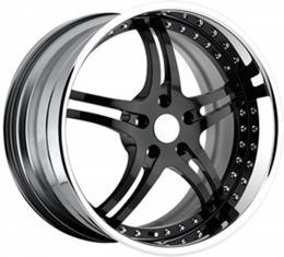 "Corvette Wheel Package, Custom Black Face With Chrome Lip, 19"" Front, 20"" Rear, 1997-2004"