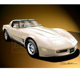 Corvette Fine Art Print By Danny Whitfield, 14x18, StingrayCoupe, Frost Beige, 1981