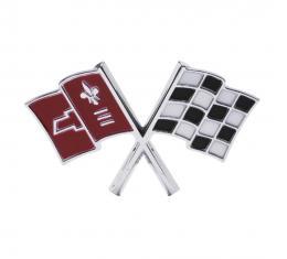 Trim Parts 66 Corvette Front X-Flag Emblem, Each 5233