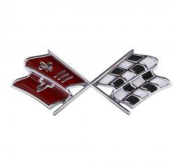 Trim Parts 67 Corvette Front X-Flag Emblem, Dark Red, Each 5234