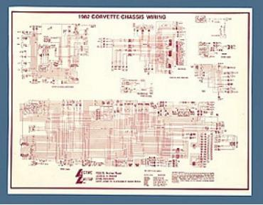 Corvette Wiring Diagram, Laminated, 1972