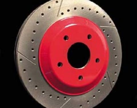 Corvette Brake Rotor Hub Covers, Red, 1997-2004