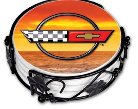 Sunset Corvette Ceramic Drink Coaster Set
