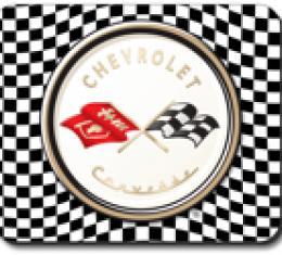 Corvette Checkered Flag Logo, Mouse Pad