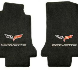 Corvette Floor Mats, 2 Piece Lloyd® Velourtex™, with Silver Corvette Flags & Script, Ebony Carpet, 2005-2007 Early