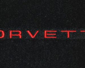Corvette Floor Mats, 2 Piece Lloyd® Velourtex™, with Silver 74-74 Corvette Logo, Black Carpet, 1968-1982