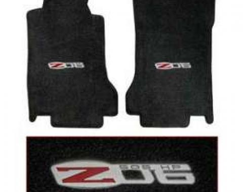 Corvette Floor Mats, 2 Piece Lloyd® Velourtex™, with Z06 505HP Logo, Ebony Carpet, Late 2007-2013 Early