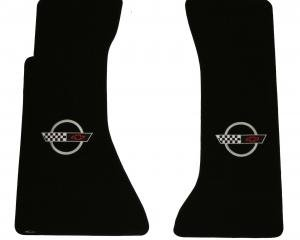 Corvette Floor Mats, 2 Piece Lloyd® Velourtex™, with Silver Corvette Logo, Black Carpet, 1991-1996