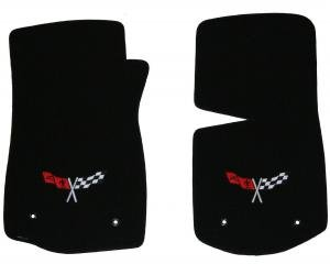 Corvette Floor Mats, 2 Piece Lloyd® Velourtex™, with Cross Flags Logo, Light Oak Carpet, 1968-1982