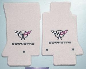 Corvette Floor Mats, 2 Piece Lloyd® Velourtex™, with Black Corvette Flags & Script, Light Shale Carpet, 1997-2004