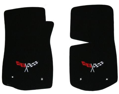 Corvette Floor Mats, 2 Piece Lloyd® Velourtex™, with Cross Flags Logo, Black Carpet, 1968-1982