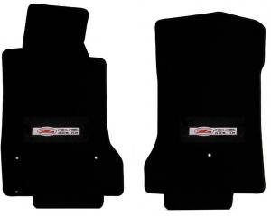 Corvette Floor Mats, 2 Piece Lloyd® Velourtex™, with Z06 405HP Emblem, Black Carpet, 1997-2004