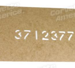 Corvette Driveshaft Part Number Stencil, 1953-1962