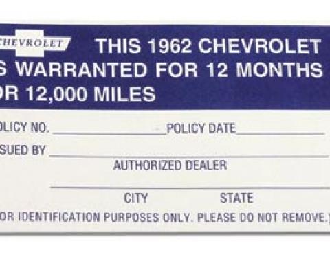 Corvette Decal, Warranty 12 Month/12000 Mile, 1962