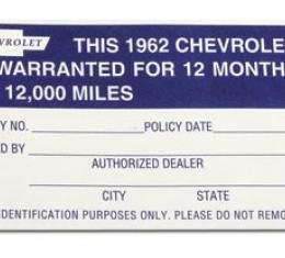 Corvette Decal, Warranty 12 Month/12000 Mile, 1962