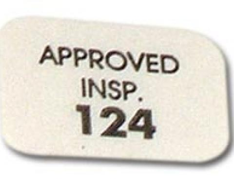 Corvette Heater Core Housing Inspection Approval Decal, 1956-1962