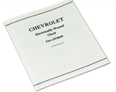 Corvette Card, Clock Instructions, 1958-1962