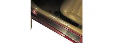 Corvette Sill Protectors, Clear, With White Letters, Sill Ease, 1997-2004