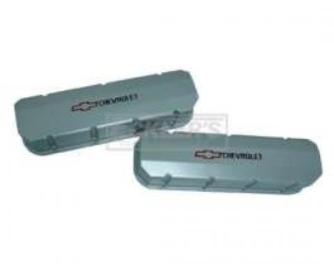 Chevy Valve Covers, Big Block, Tall Design, Fabricated Satin Aluminum, With Chevrolet Script & Bowtie Logo, 1955-1957
