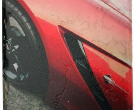 Corvette 7th Generation Stone Tile Coaster, Orange, Set of 4