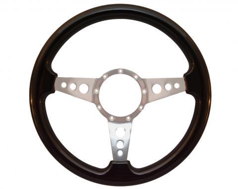 Volante S9 Premium Steering Wheel, with 3 Hole Polished Aluminum Spokes & Black Ash Grip
