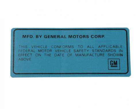 Corvette Decal, Vehicle Certification Label, Back of Door, 1969-1975