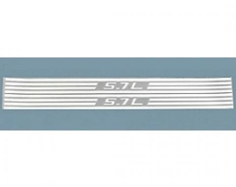 Corvette Fuel Rail Cover Decals, 5.7L & Stripes, Silver Metallic, 1997-2004