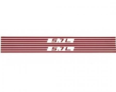 Corvette Fuel Rail Cover Decals, Red 5.7L & Stripes, 1997-2004