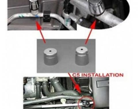 Corvette Air Conditioning Check Valve Cap Covers, Chrome, 1997-2013
