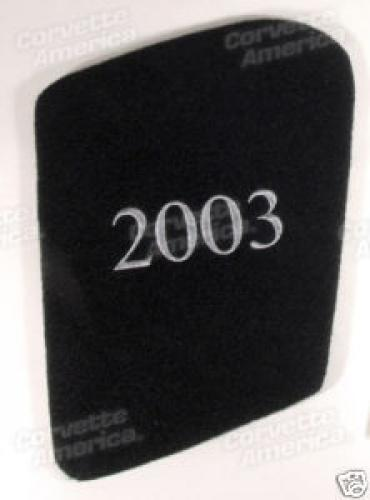 Corvette Hood Liner, With Year Monogrammed In Gold, 2003