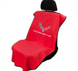 Seat Armour C7 Corvette, Seat Towel, Adrenaline Red with Logo, SA100COR7R