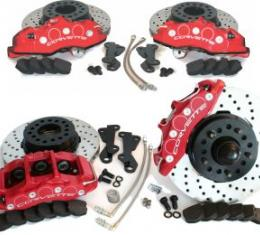 SpeedDirect 1965-1982 Corvette Disc Brake Conversion Kit, Front/Rear, Cross Drilled Rotors & Red Calipers