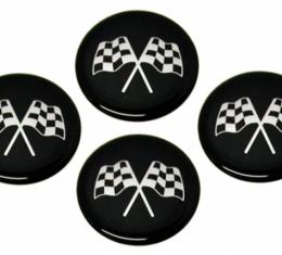Corvette Emblem Set, Cross Flag Black, Set of 4