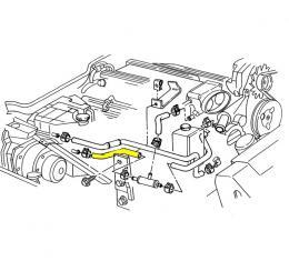 Corvette Heater Hose, Lower Coolant Surge Tank to Tee, LT1, 1993-1994
