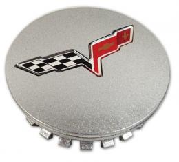 Corvette Wheel Center Cap, Except Z06, Silver, 2008-2013