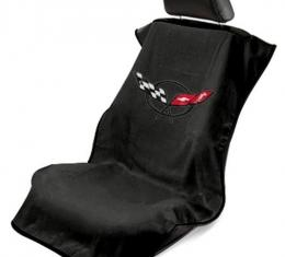 Seat Armour 1997-2004 Corvette Seat Towel, Black with C5 Logo SA100COR5B