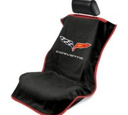 Seat Armour 2005-2013 Corvette Seat Towel, Black with C6 Logo SA100COR6B