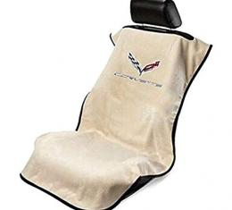 Seat Armour 2014-2019 Corvette Seat Towel, Tan with C7 Logo SA100COR7T