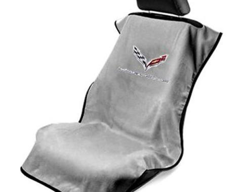 Seat Armour 2014-2019 Corvette Seat Towel, Gray with C7 Logo SA100COR7G