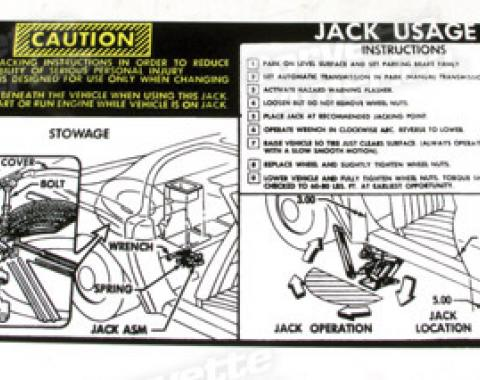 Corvette Decal, Jacking Instruction, 1975-1978